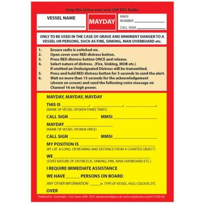 Image showing the encapsulated Mayday Emergency Procedure_Card